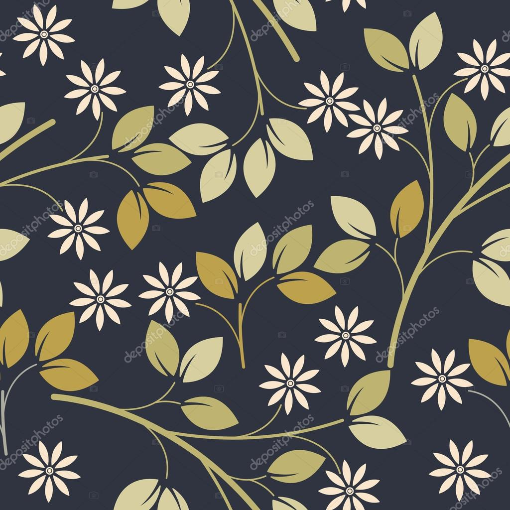 Spring seamless pattern with decorative flowers and leaves