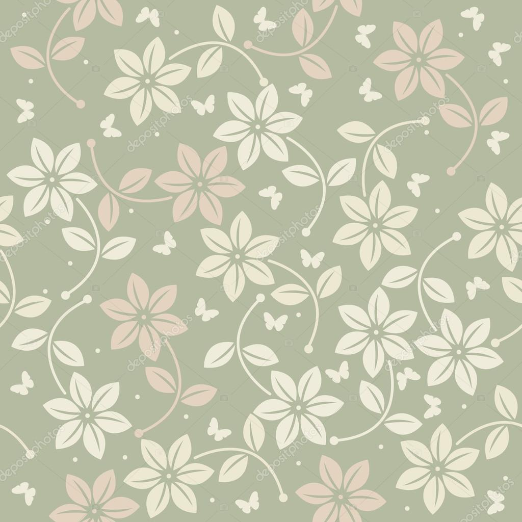 Spring seamless pattern with flowers and butterflies on green ba