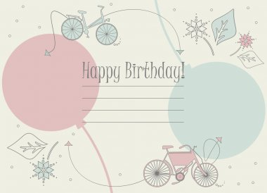Stylish Birthday card  with bicycles, balloons and flowers