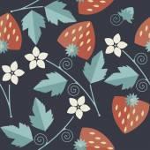 Aranyos zökkenőmentes minta, piros eper kernelek, levelek, sta