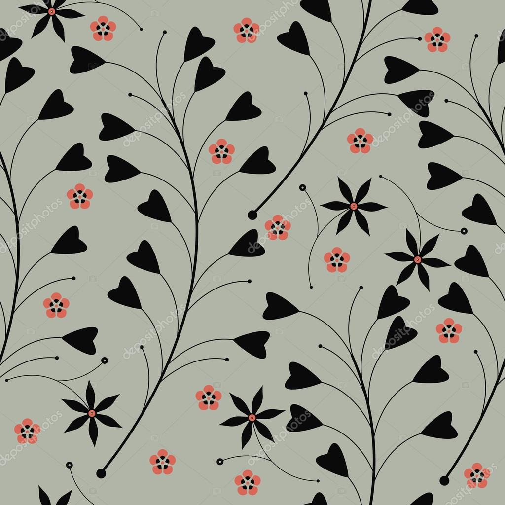 Seamless pattern with silhouettes of red flowers and grass