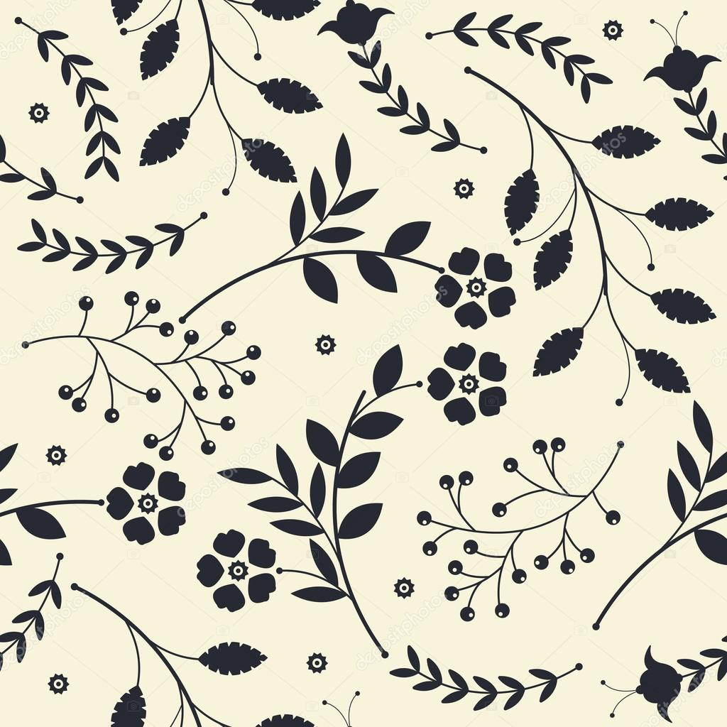 Endless pattern with  bouquets of flowers and leaves