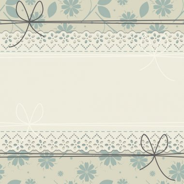 Stylish greeting card with spring flowers and lace frame
