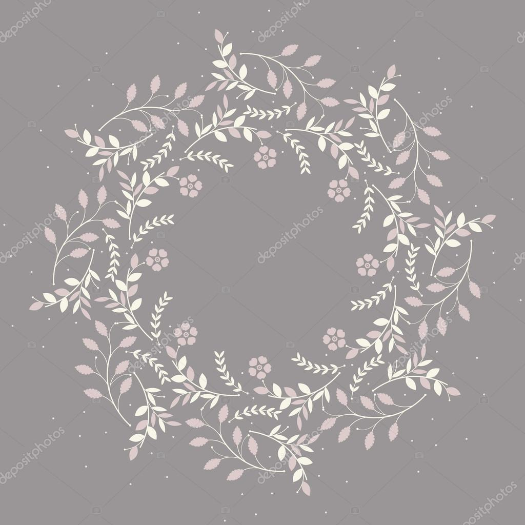 Cute circle frame with plants, flowers and polka dots