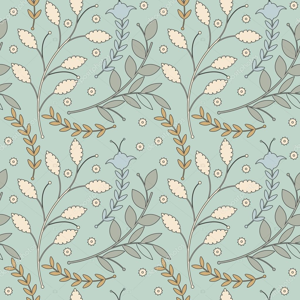Decorative seamless pattern with different flowers and leaves on