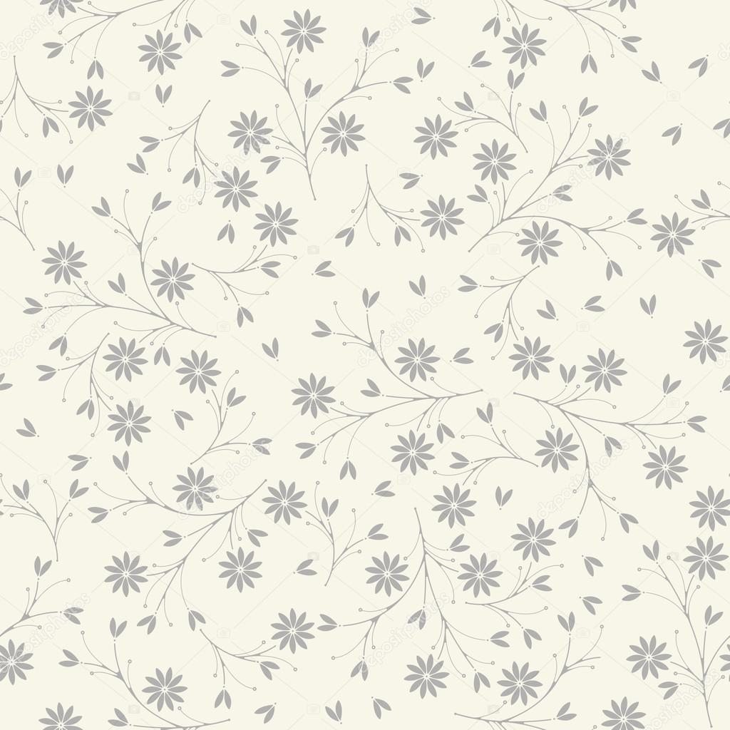 Elegant seamless pattern with flowers and petals on ivory backgr