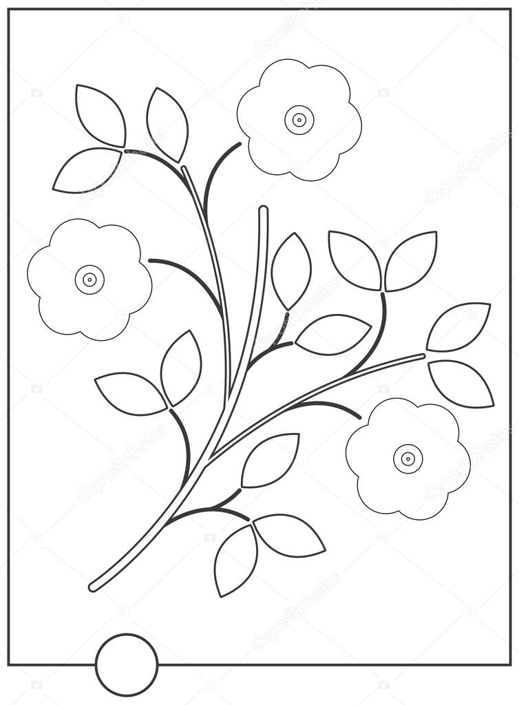 Libro para colorear con flores con estilo — Archivo Imágenes ...