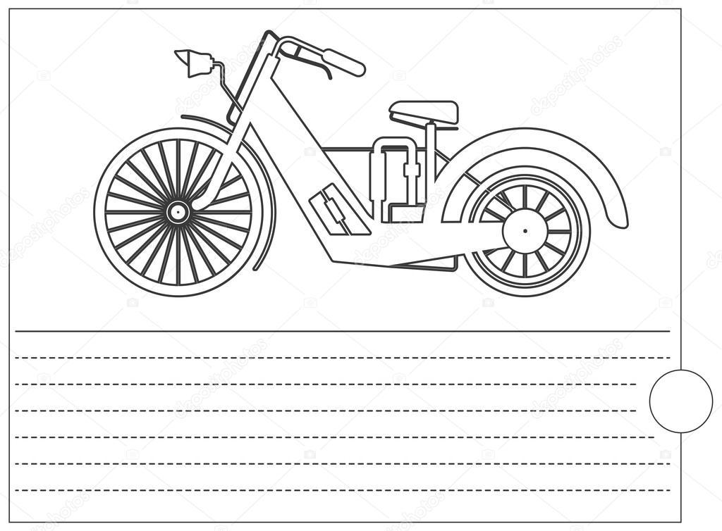 şık Bisiklet Ve Metin Için Yer Ile Boyama Kitabı Stok Vektör