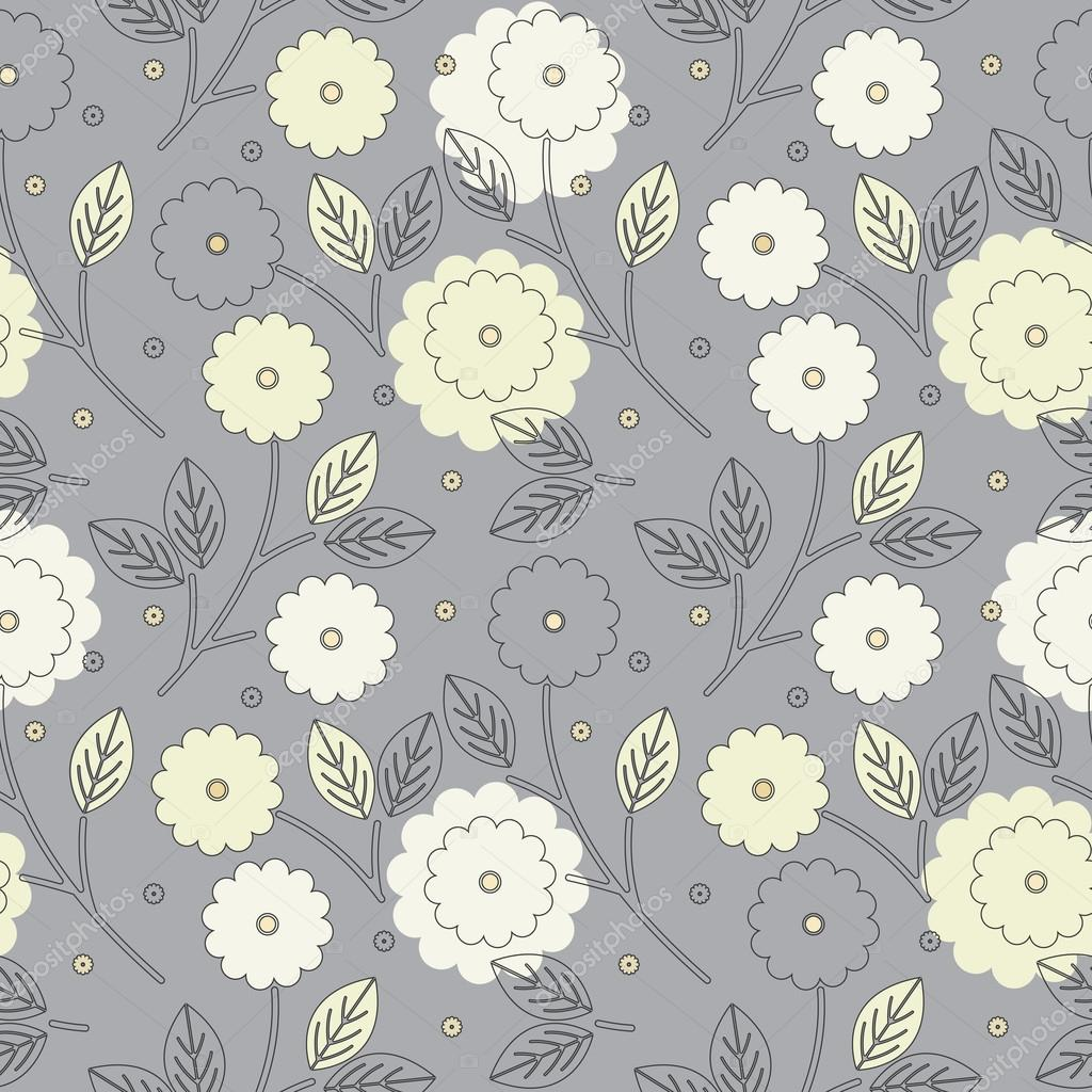Elegant seamless pattern with yellow and ivory flowers and leave