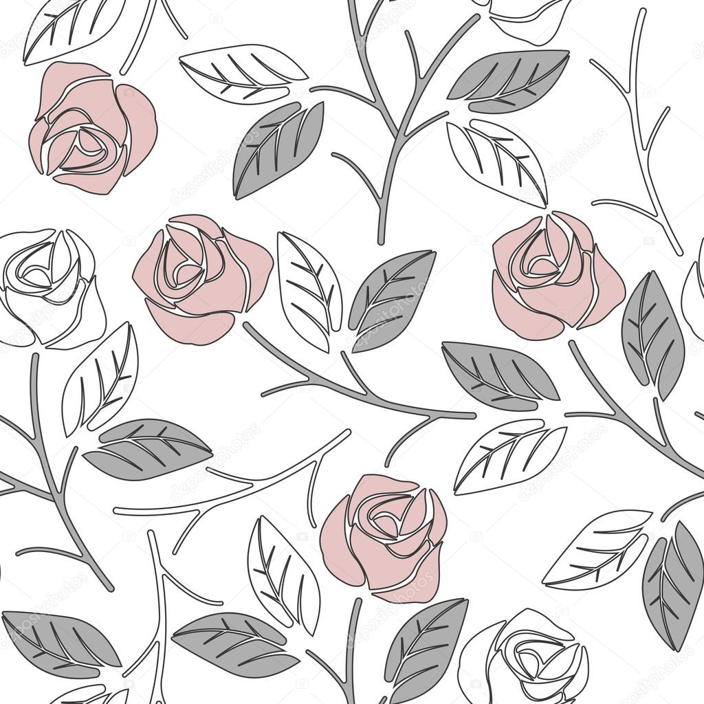 Cute seamless pattern with pink roses and light grey leaves isol