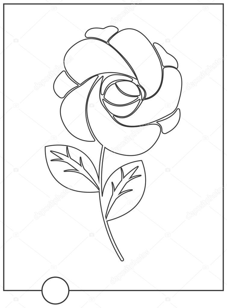 Libro para colorear con Rosa Linda — Vector de stock © Da6kin #115074236