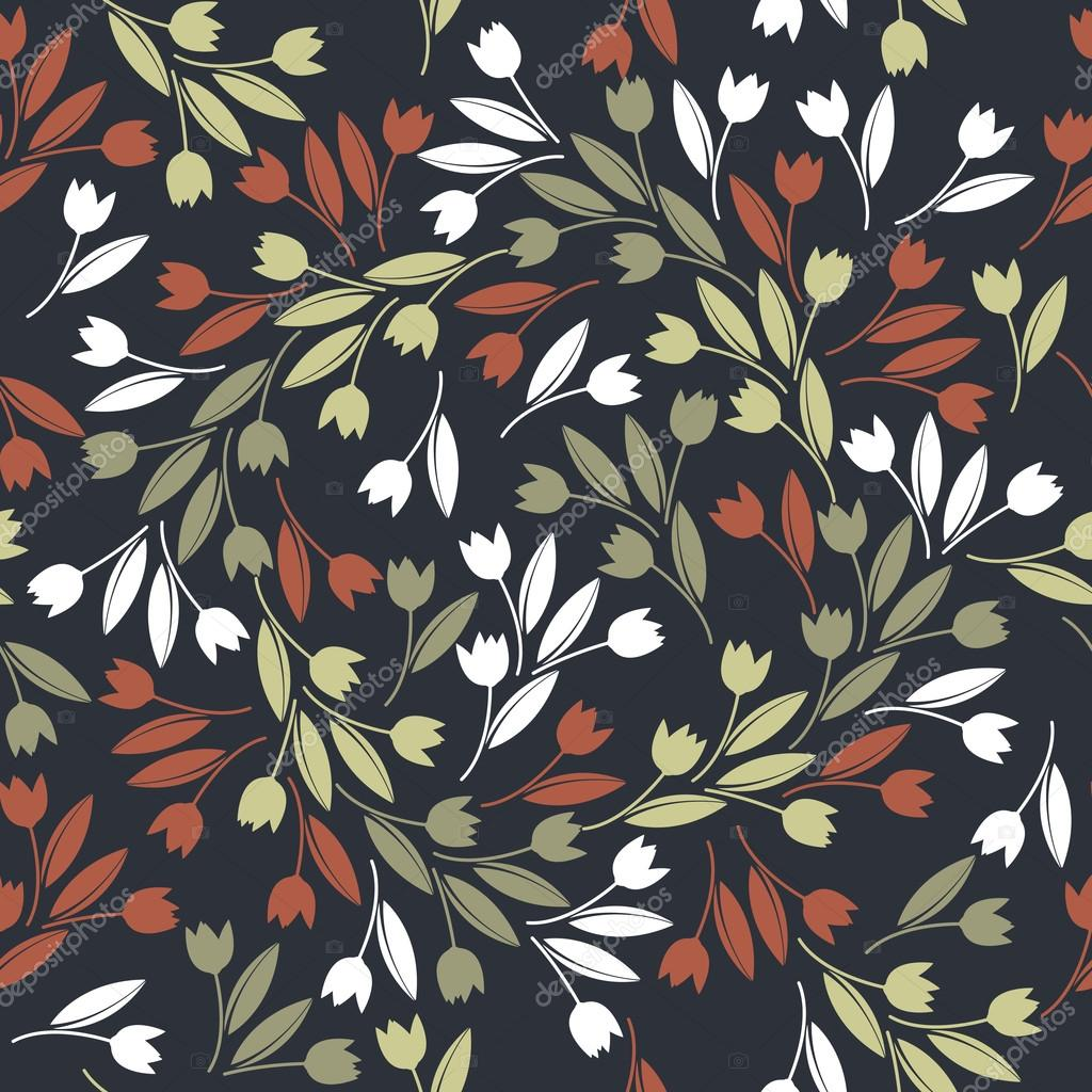Elegant seamless pattern with red, green and white tulips isolat