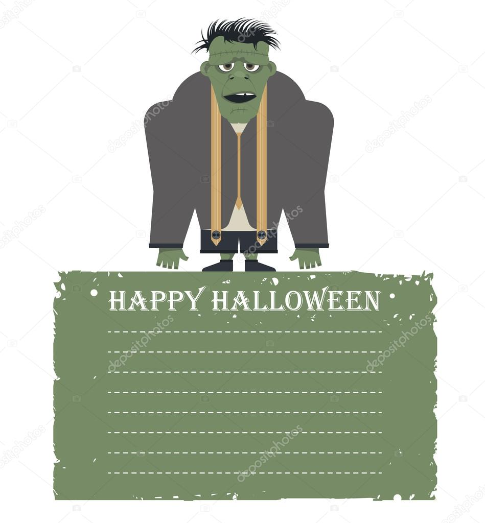 Halloween card with zombie isolated on white background and pla halloween card with zombie isolated on white background and place for your text vector image can be used for greeting cards posters banners invitation m4hsunfo
