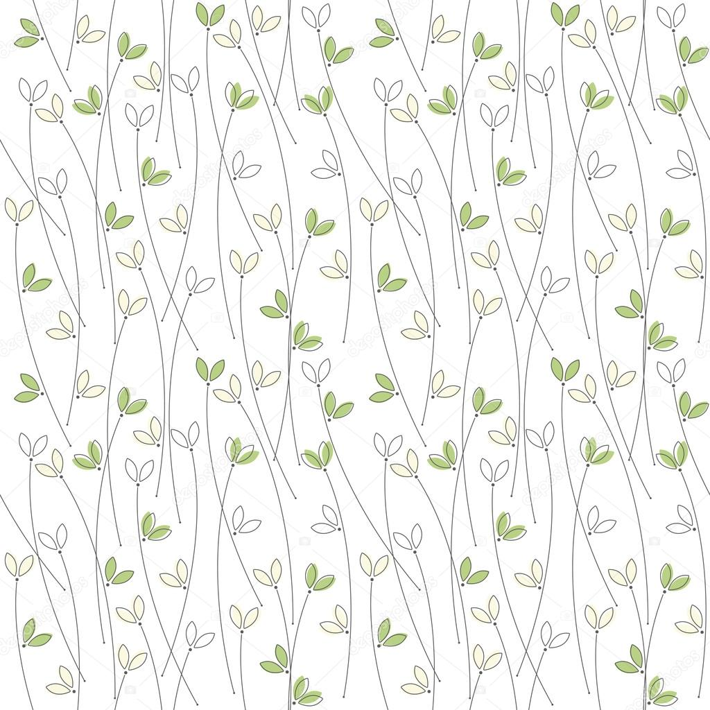 Seamless pattern with cute silhouettes of grass isolated on whit