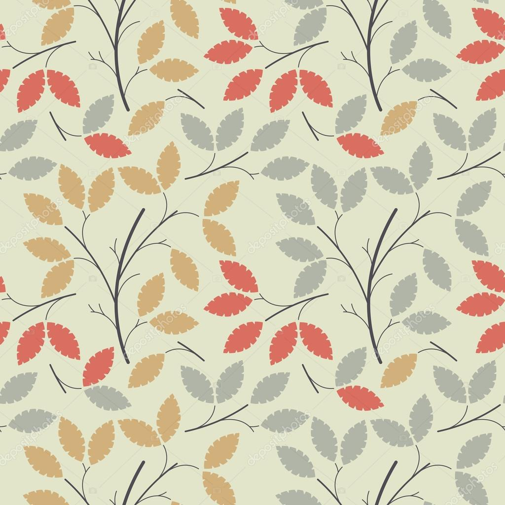 Beautiful seamless pattern with colorful leaves