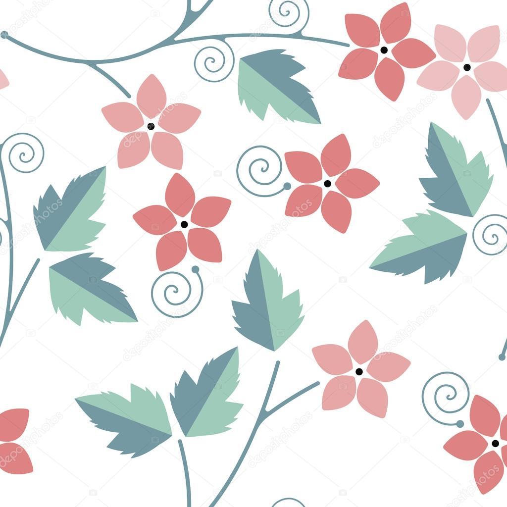 Aislar lindo patrón transparente con hojas verdes y flores rosadas ...