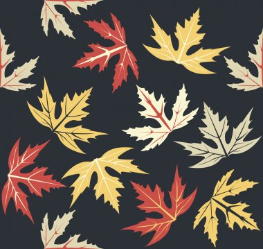 Stylish seamless pattern with autumn leaves