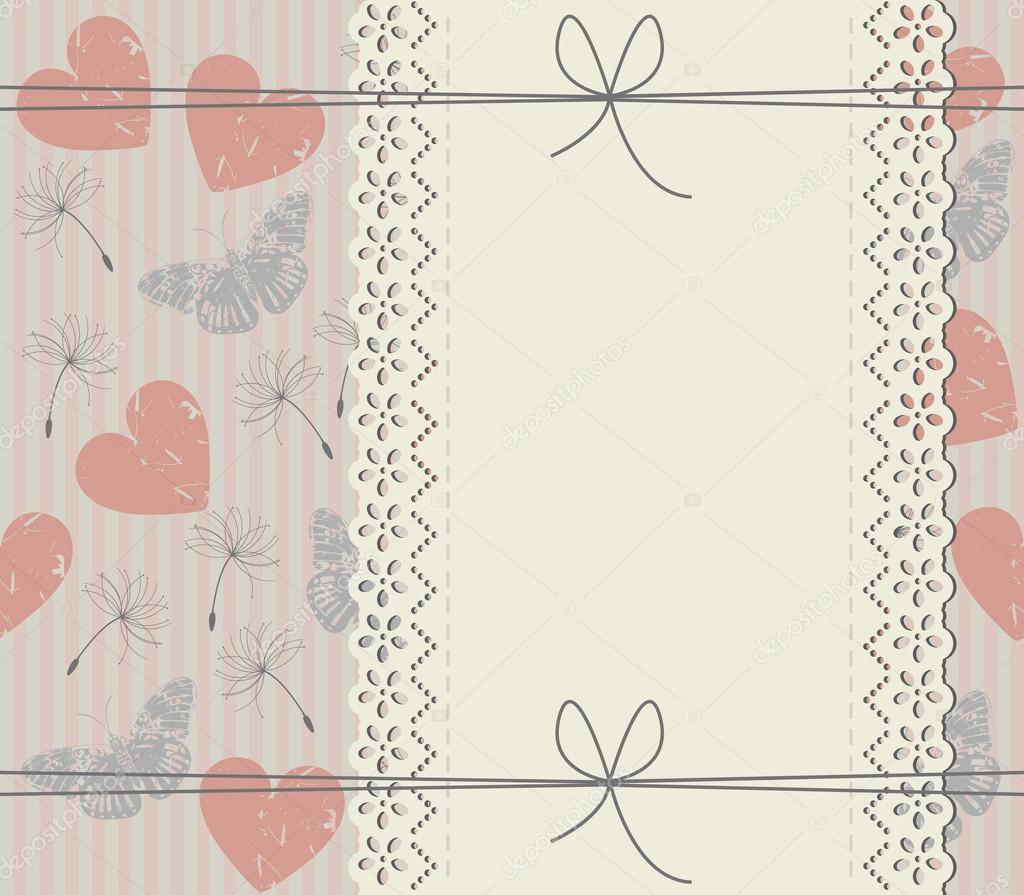 Elegant Cover With Lace Frame Dandelions Butterflies And Heart