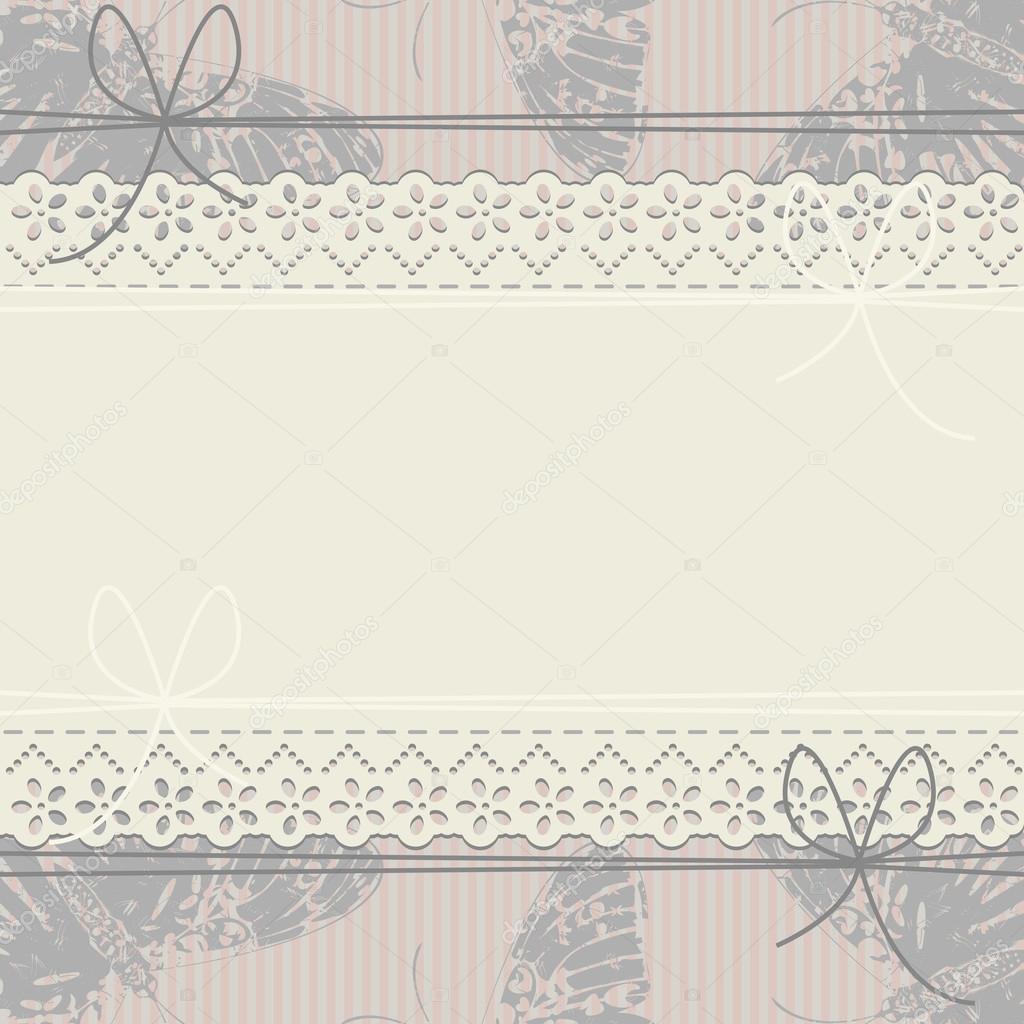 Stilvolle Spitzen Rahmen mit Bögen, Schmetterlinge und Linien ...