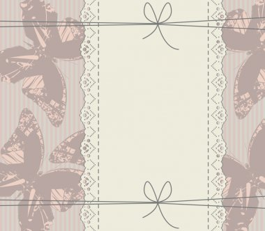 Glamour background with lace frame, butterflies, bows and lines