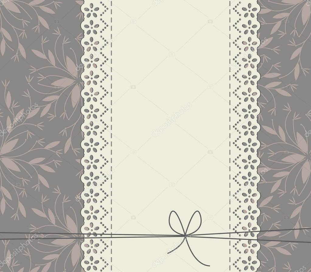 Marco de encaje con arco, hojas y flores decorativas — Archivo ...