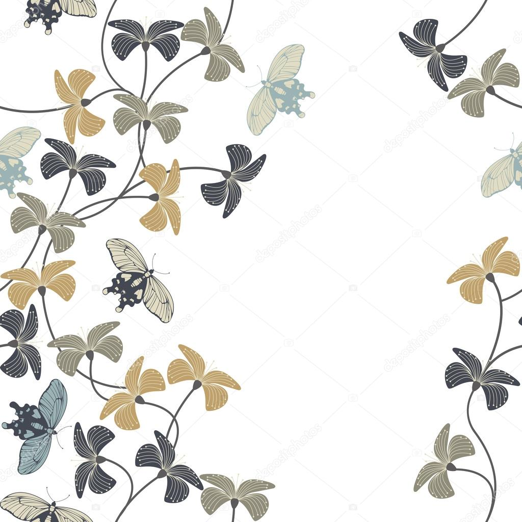 Seamless pattern with stylish flowers and cute butterflies