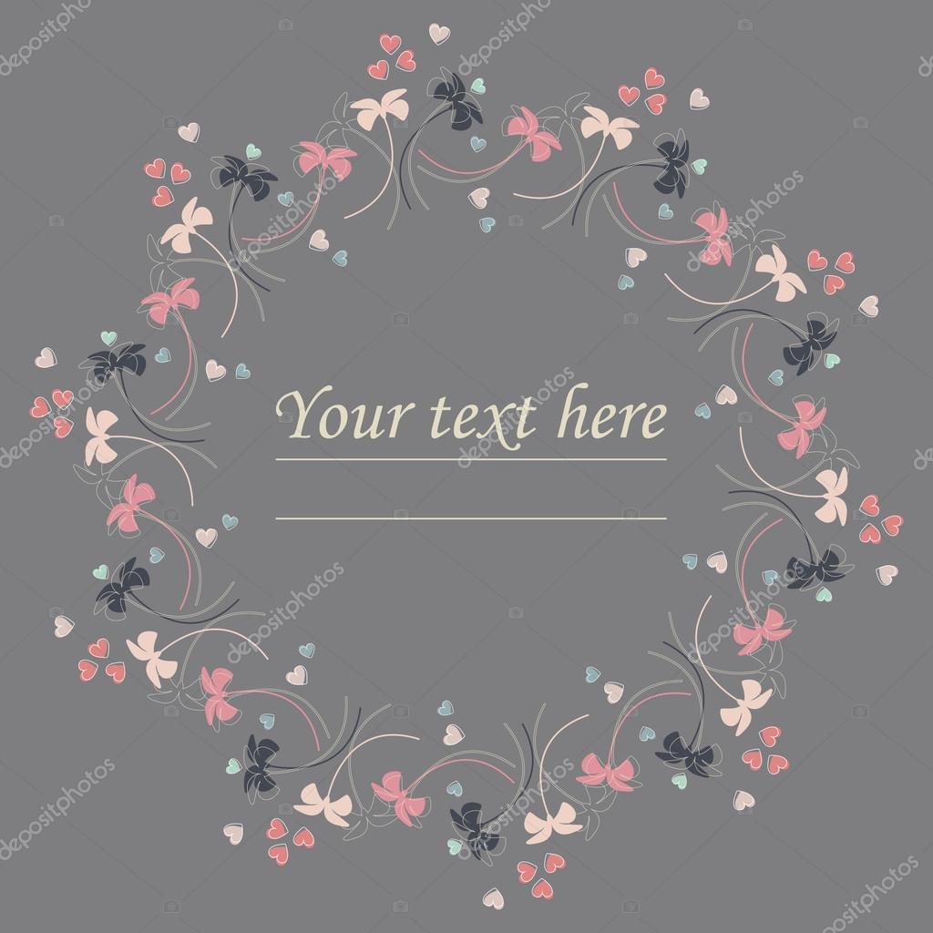 Marco de círculo lindo con flores y corazones lindos — Archivo ...