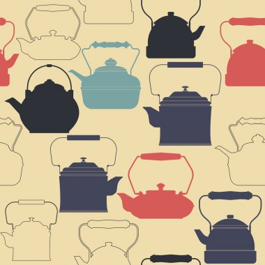Endless pattern with retro teapots