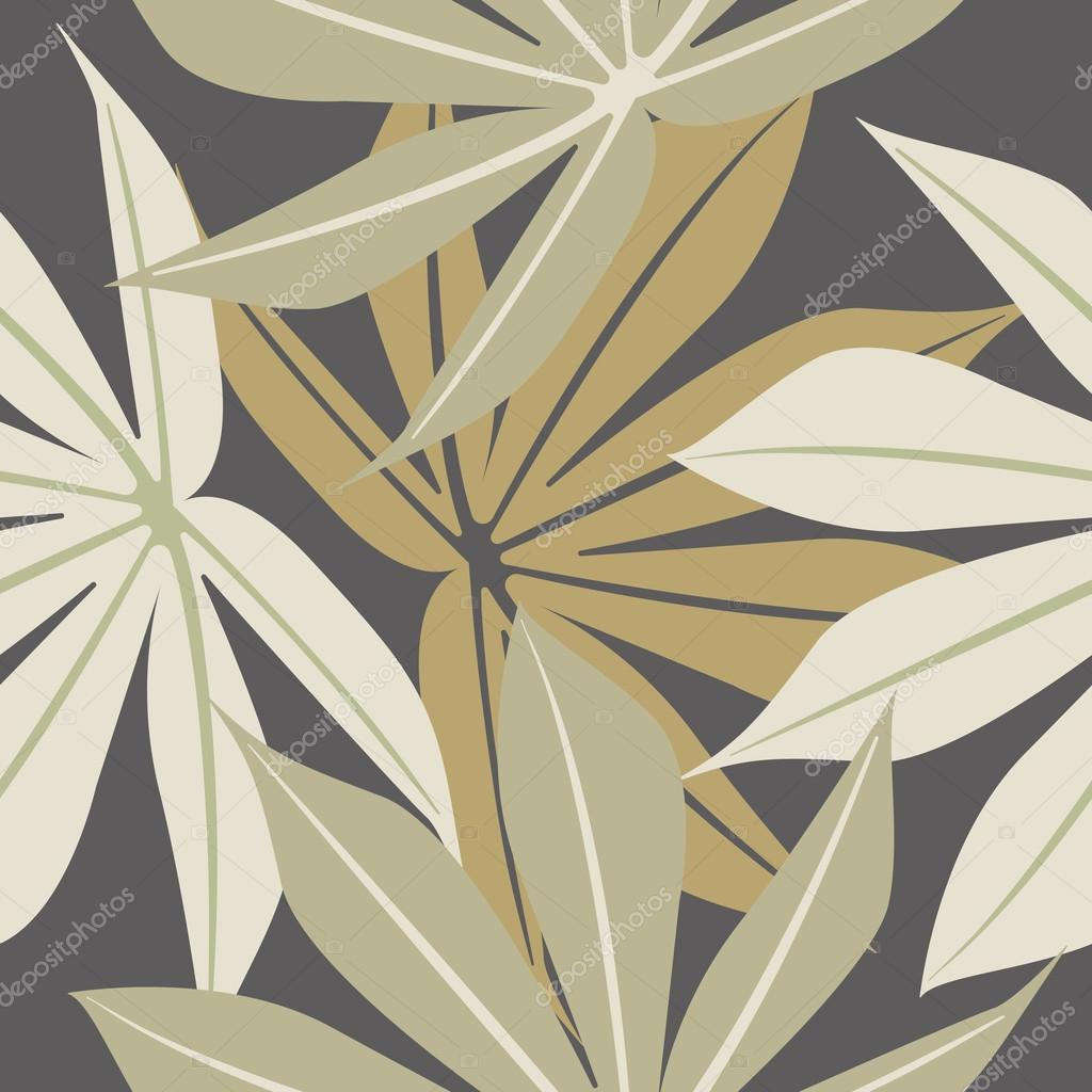 Stylish seamless pattern with tropical leaves