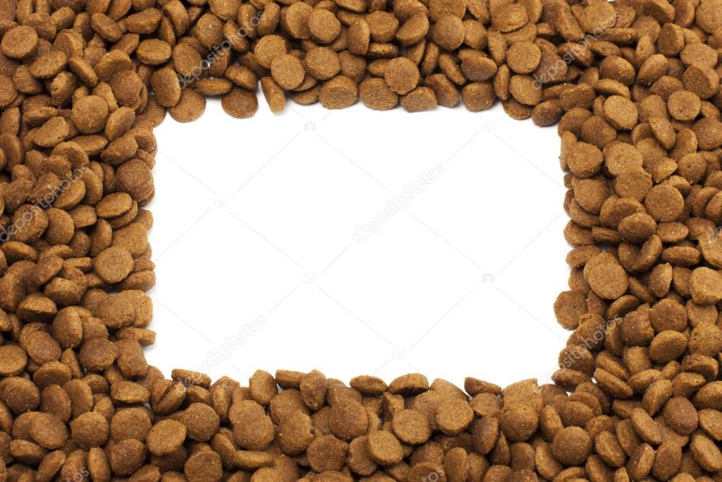 Square Or Rectangular Frame Of Pet Dog Or Cat Food For Background