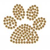 Stopa kočka nebo pes od granulí hnědé suché PET