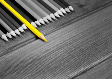 Black and white image of colored pencils with isolated yellow
