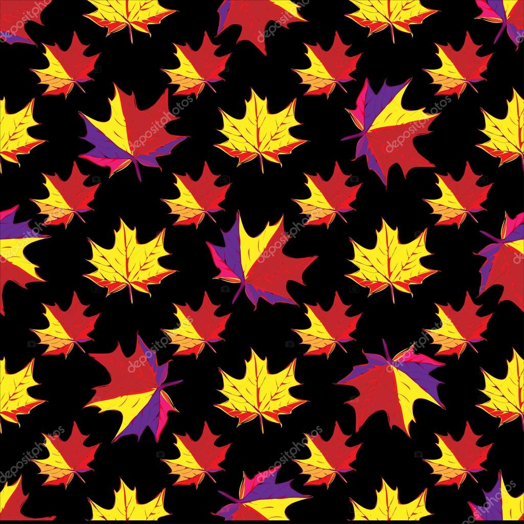maple leaves on black background