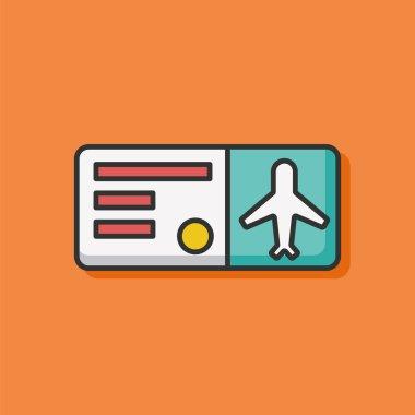 air ticket color line icon