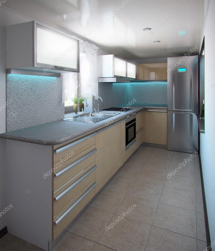 L Shaped Minimalism Kitchen Interior 3d Render Stock Photo