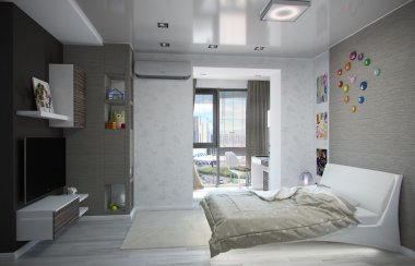 Kids bedroom interior design, 3D render