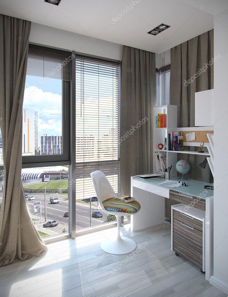 Kinderen slaapkamer interieurontwerp, 3d render — Stockfoto ...