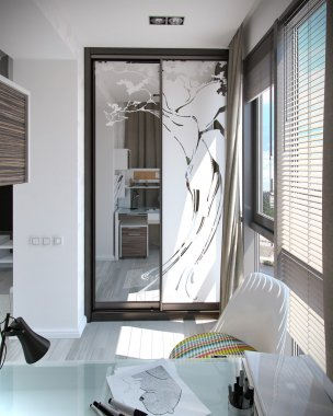 Kids bedroom interior design, 3D render