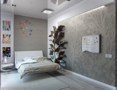 Kids bedroom interior design, 3D rendering