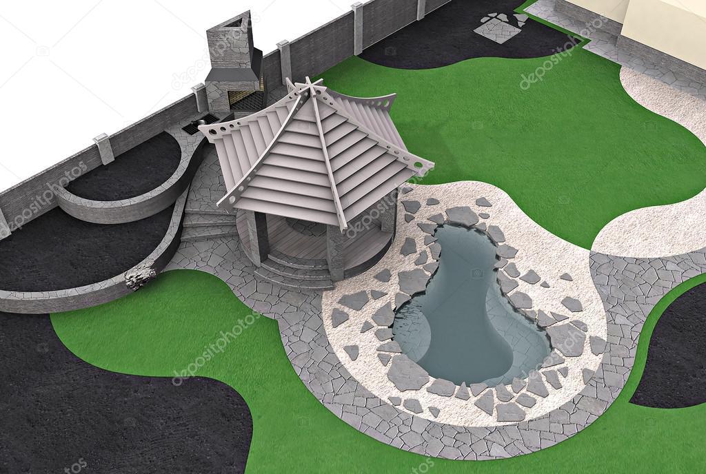 Landscaping master plan, 3d rendering