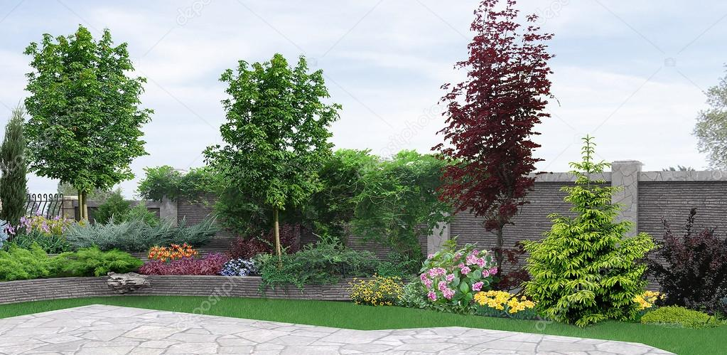 Side yard planting of greenery, 3d rendering