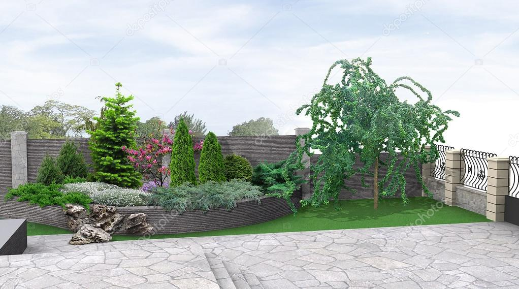 Front yard planting of greenery, 3d rendering