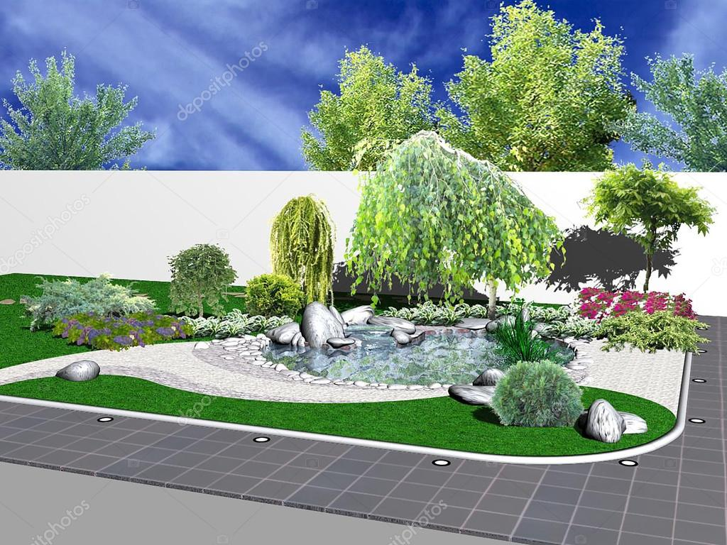 Hardscapes and koi pond, 3d rendering