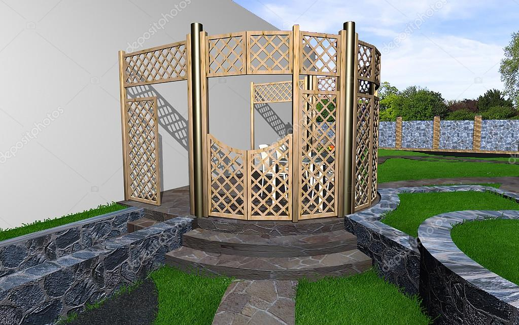 Privacy landscaping in the landscape, 3d rendering