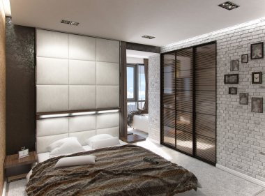 Modern bedroom interior, 3d rendering