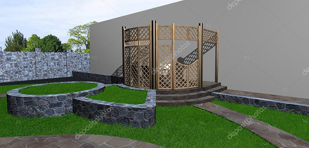 Multi level landscaping, 3d render