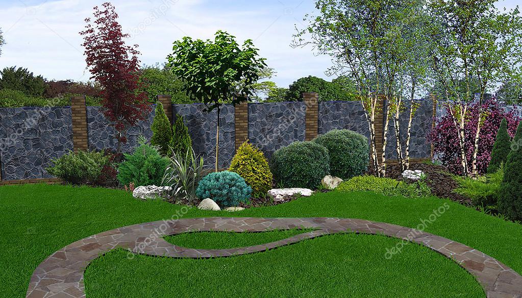 Backyard horticultural background, 3d rendering