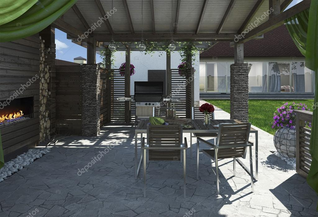Alfresco living area, 3D render