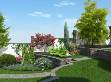 Backyard horticultural background, 3d rendering
