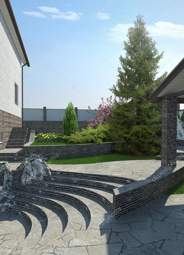 Patio terraced landscaping, 3d render